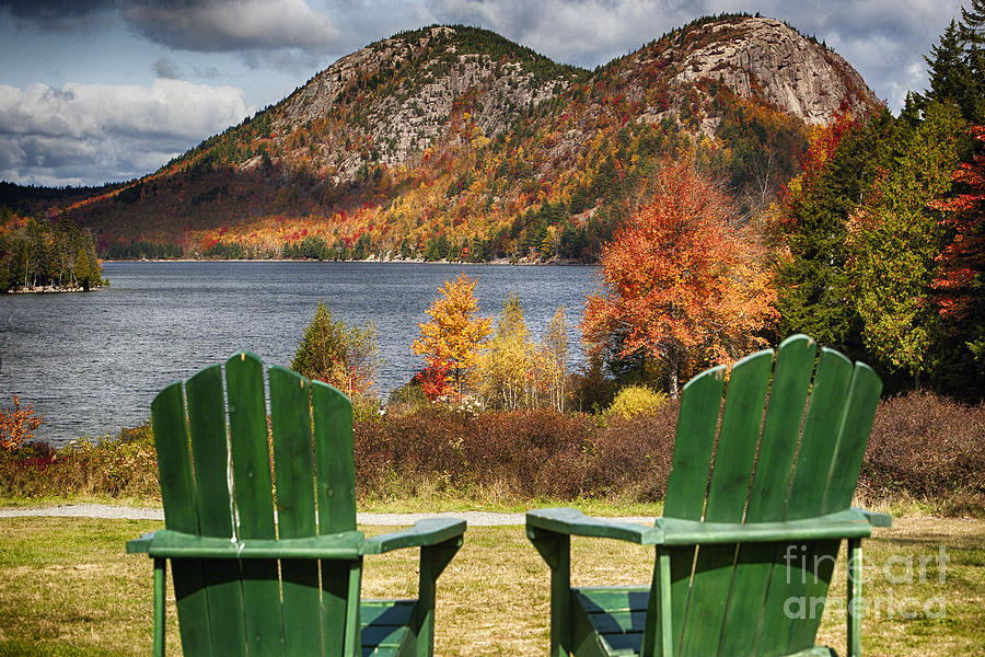 Adirondack Chairs Photograph - Best Seats In Acadia by George Oze