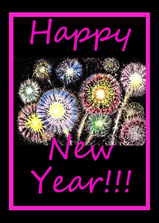 Fireworks Painting - Best Wishes And Happy New Year by Irina Sztukowski