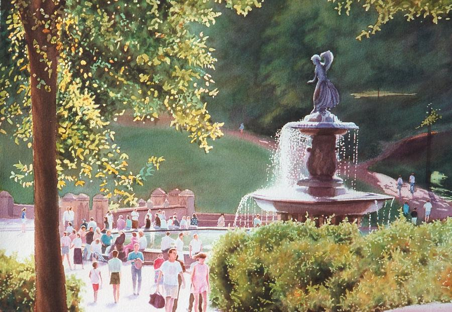 Watercolor Painting - Bethesda Fountain by Daniel Dayley
