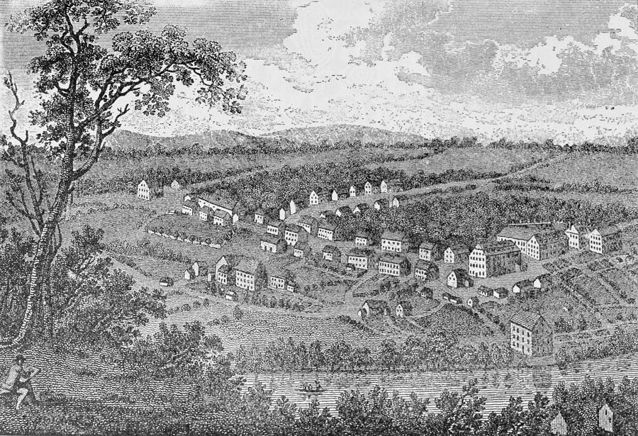 Town Drawing - Bethlehem, A Moravian Settlement In Pennsylvania, From The Pageant Of America by American School