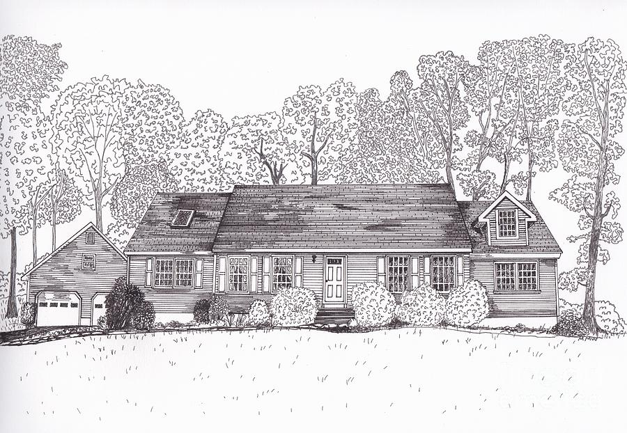 Architectural Drawings. Technical Illustrations Drawing - Betsys House by Michelle Welles