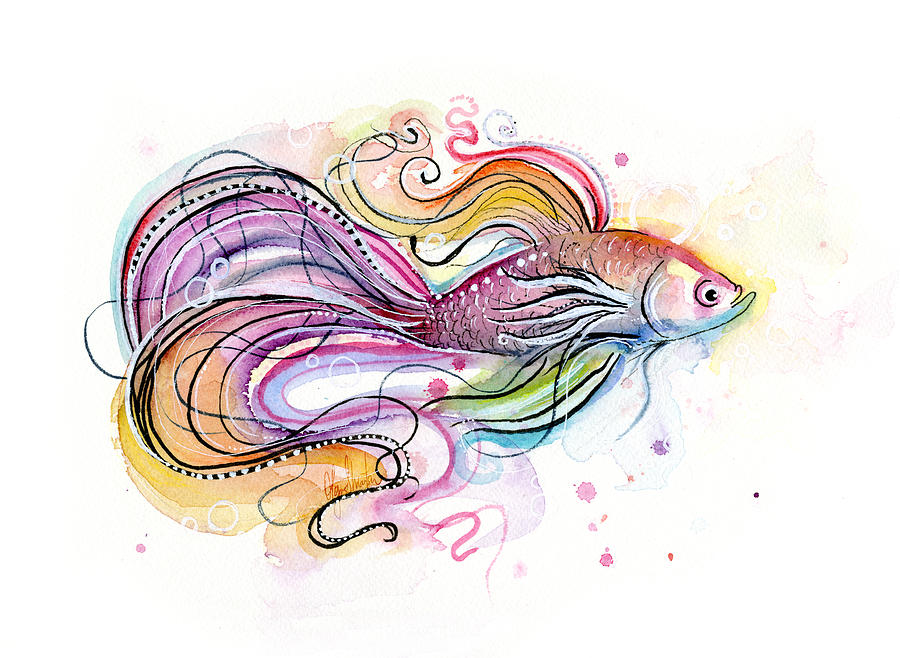Betta fish watercolor painting by olga shvartsur for Betta fish painting