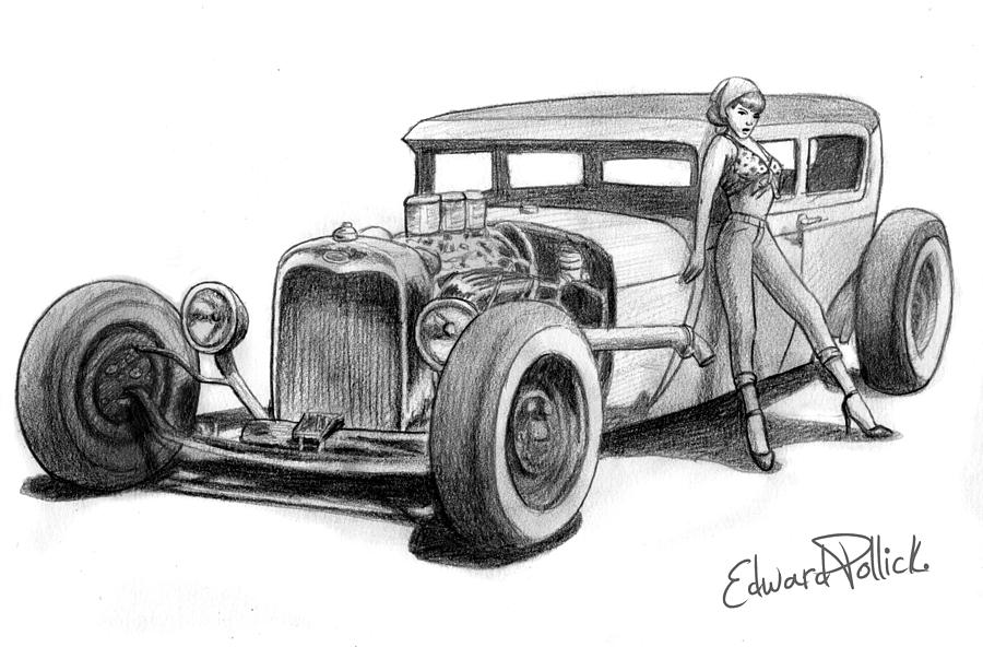 Bettie Page Hot Rod Drawing By Edward Pollick