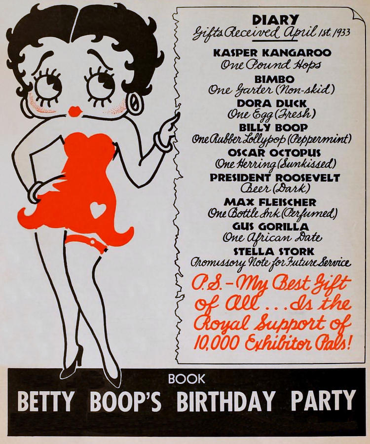 Betty Boop - 1933 Birthday Drawing by Charlie Ross