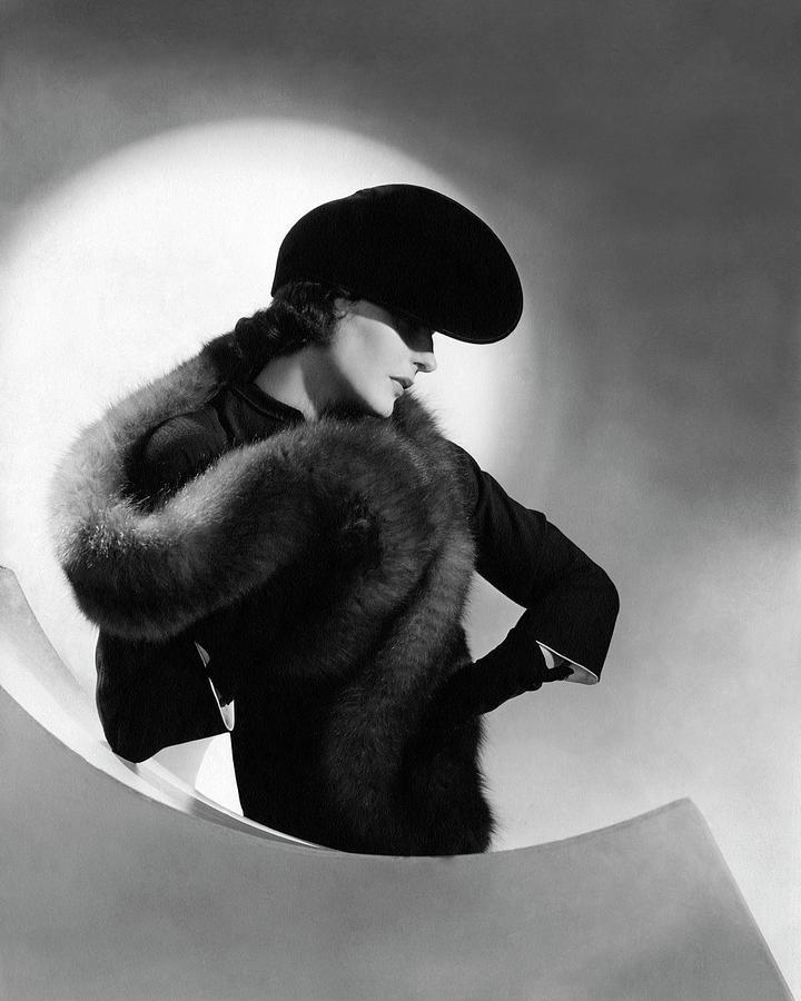 Betty Mclauchlen Wearing A Fox Stole Photograph by Horst P. Horst