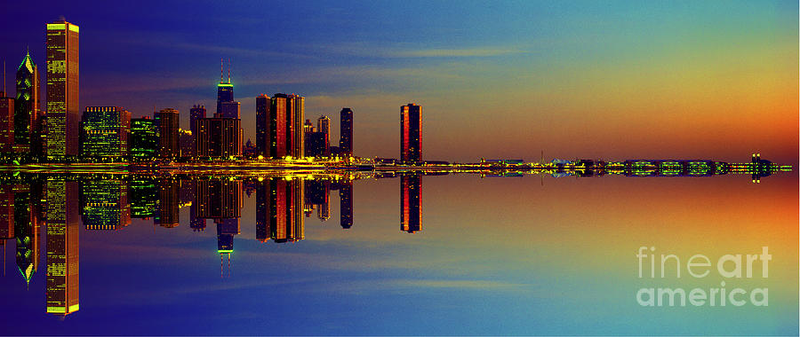 Between Night and Day chicago skyline mirrored by Tom Jelen