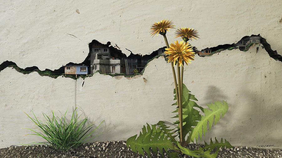 Digital Digital Art - Between the Cracks by Cynthia Decker