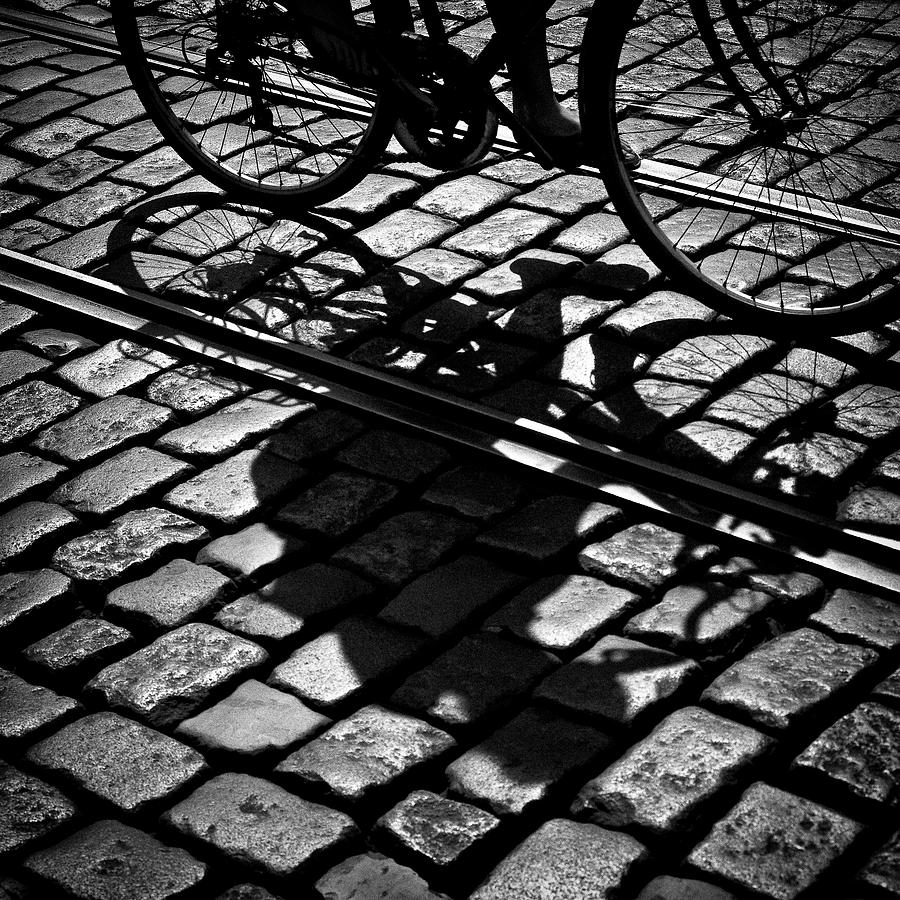 Cyclist Photograph - Between The Lines by Dave Bowman