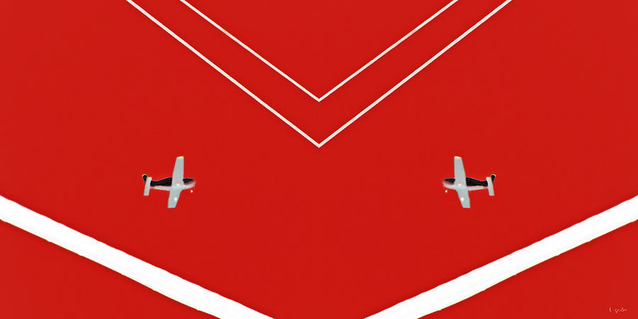 Plane Photograph - Between The Lines Red Duo by Tony Grider