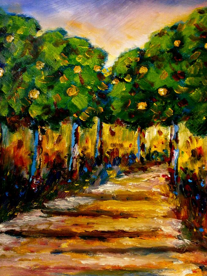 Landcapes Painting - Between The Trees by Constantinos Charalampopoulos