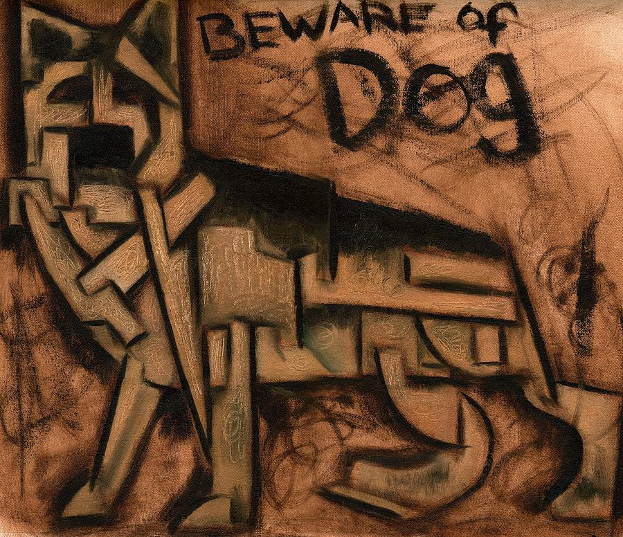 German Shepherd Painting - Tommervik Beware Of Dog Art Print by Tommervik