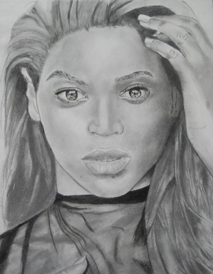 Singer Drawing - Beyonce by Aaron Balderas