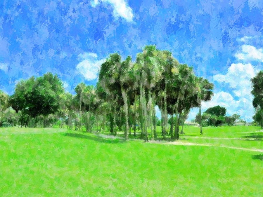 Landscape Mixed Media - Beyond The 9th Hole by Florene Welebny