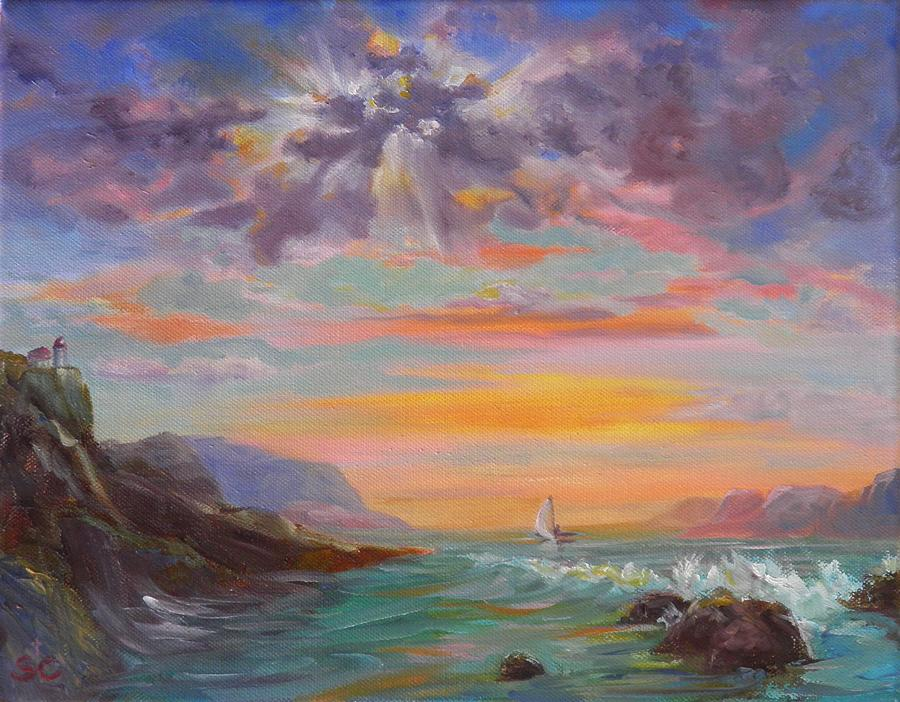 Lighthouses Painting - Beyond The Sunset by Sharon Casavant