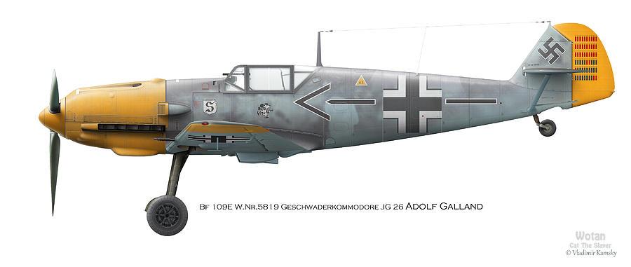 Luftwaffe Digital Art - Bf 109e W.nr.5819 Geschwaderkommodore Jg 26 Adolf Galland by Vladimir Kamsky