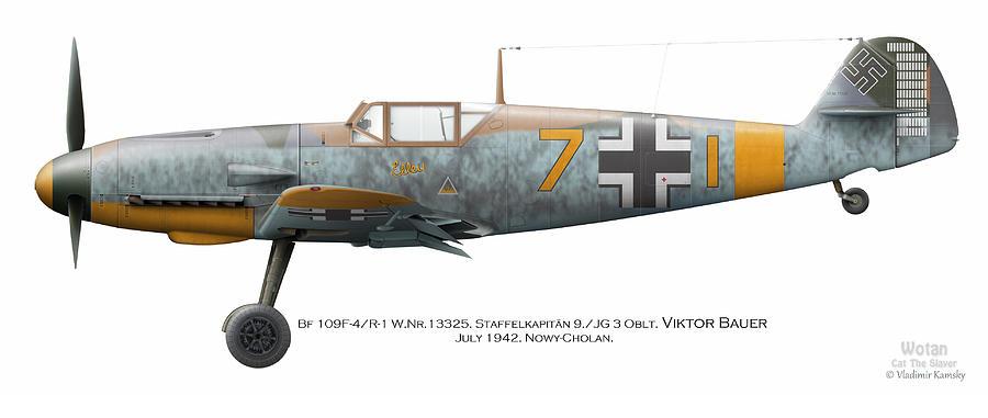 Luftwaffe Digital Art - Bf 109f-4/r-1 W.nr.13325. Staffelkapitan 9./jg 3 Oblt. Viktor Bauer. July 1942. Nowy-cholan by Vladimir Kamsky
