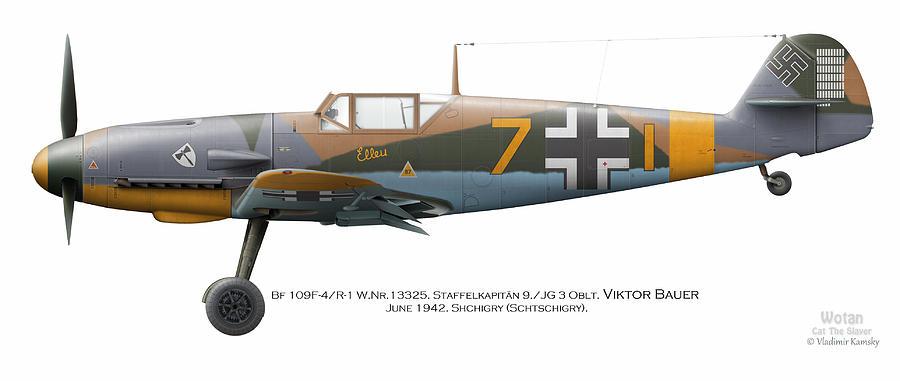 Luftwaffe Digital Art - Bf 109f-4/r-1 W.nr.13325. Staffelkapitan 9./jg 3 Oblt. Viktor Bauer. June 1942. Shchigry by Vladimir Kamsky