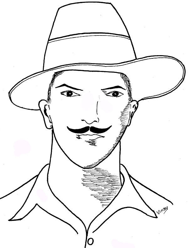 Bhagat Singh Drawing By Vinay Jalla