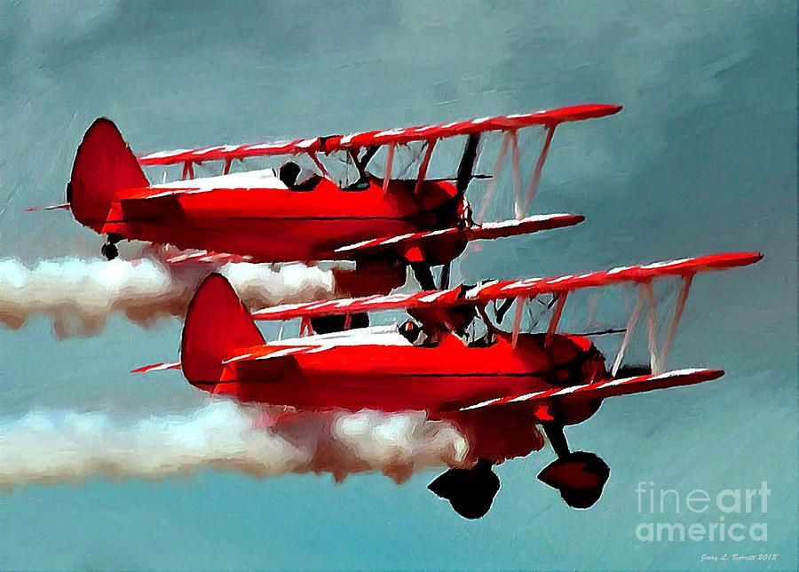Biplanes Mixed Media - Bi-planes by Jerry L Barrett