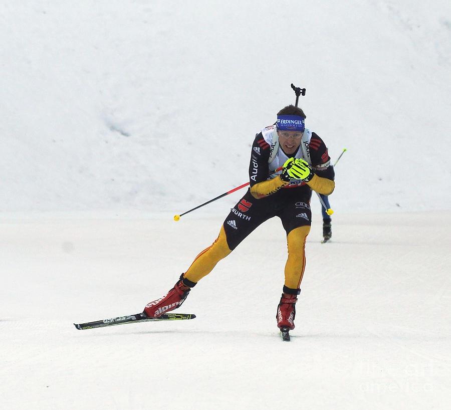 Winter Photograph - biathlete Andreas Birnbacher Germany by Rudi Prott