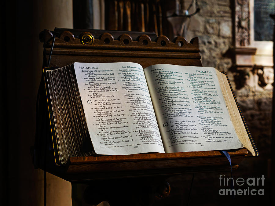 Bible Photograph - Bible Open On A Lectern by Louise Heusinkveld