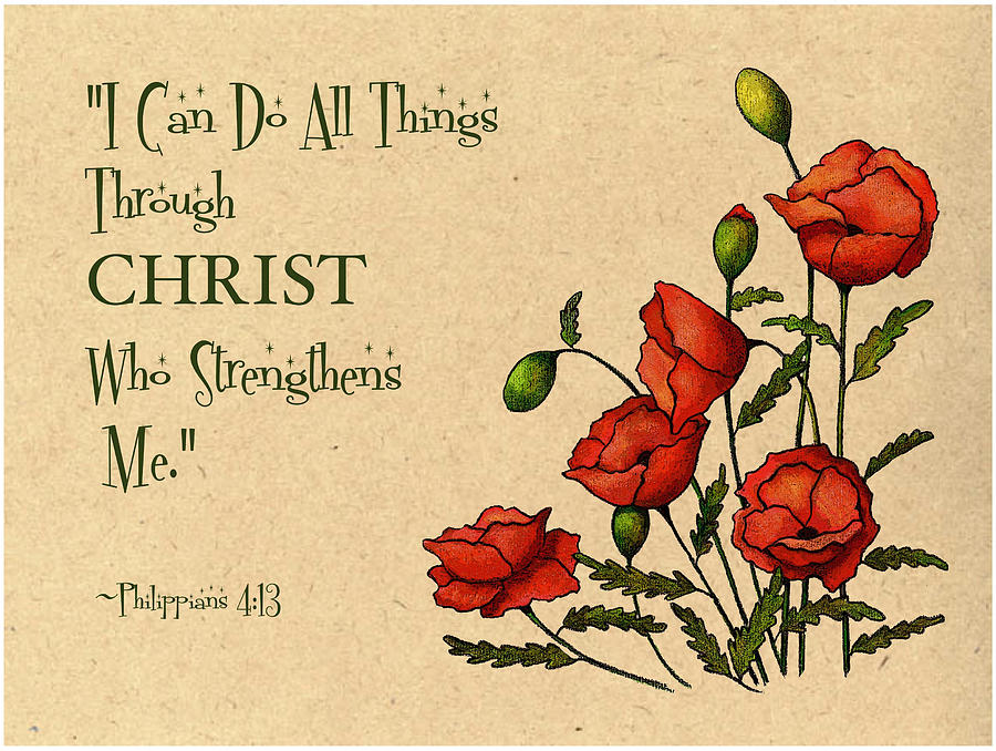 Bible Mixed Media - Bible Verse With Poppies by Joyce Geleynse