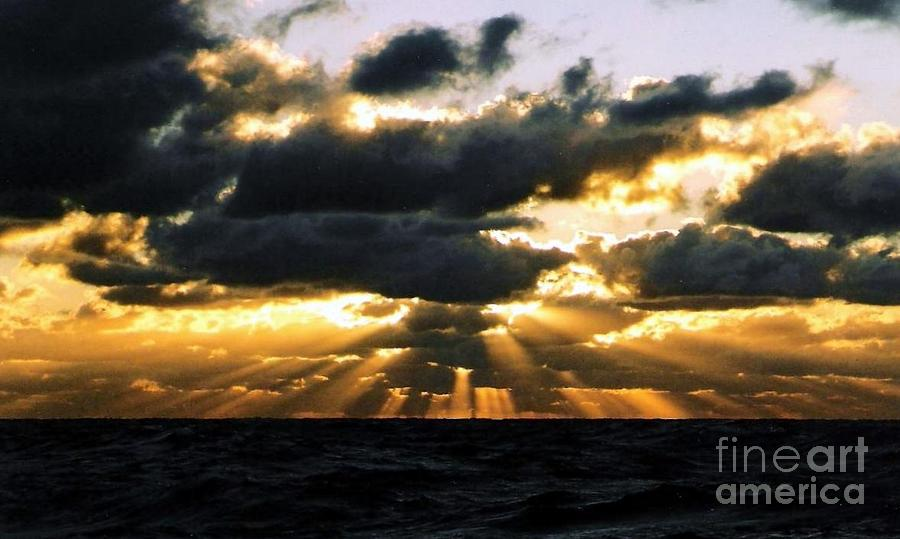Crepuscular Biblical Rays At Dusk In The Gulf Of Mexico Louisiana Photograph