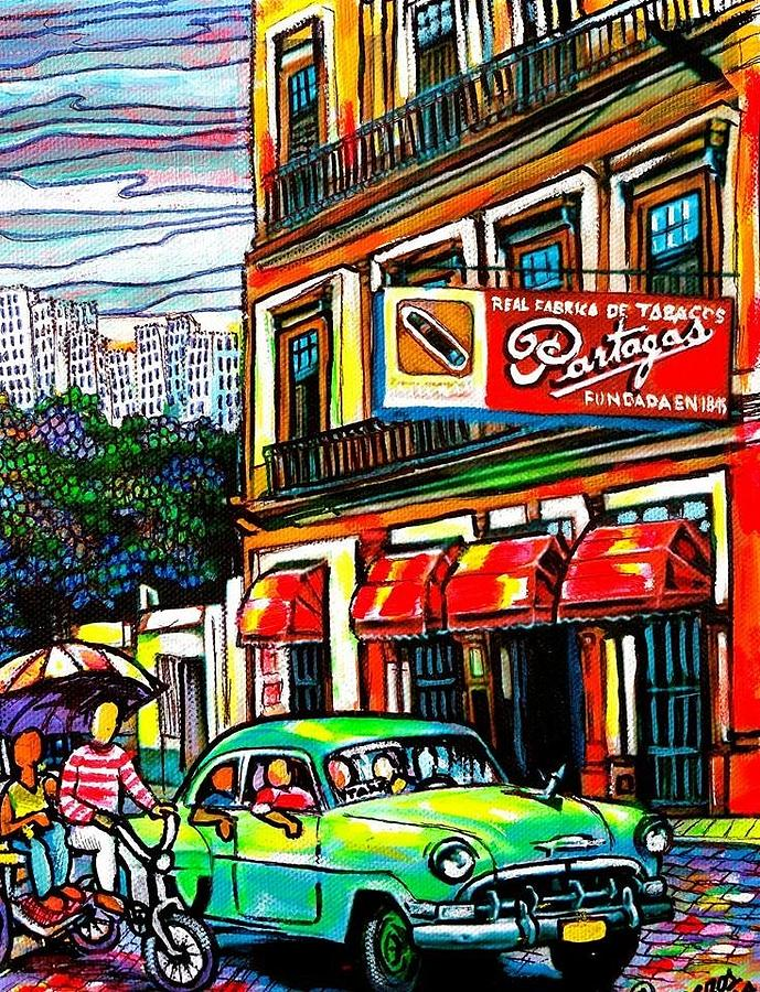 Bici Taxis And Almendrones Painting by Arturo Cisneros