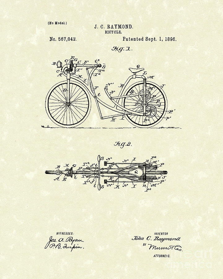 Raymond Drawing - Bicycle 1906 Patent Art by Prior Art Design