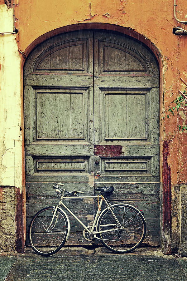Bicycle Against Old Wooden Door Photograph by Rglinsky