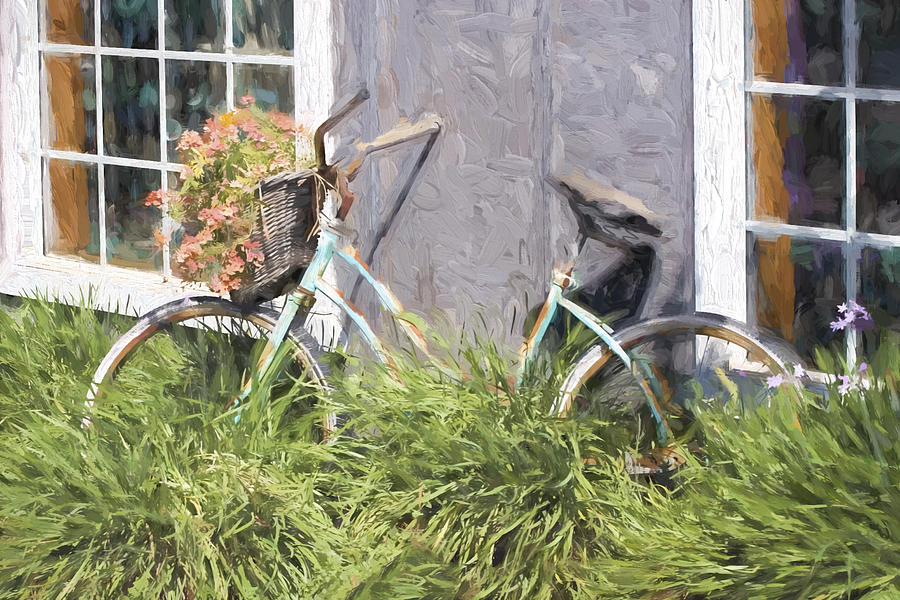 Bicycle Photograph - Bicycle Basket Of Flowers Painterly Effect by Carol Leigh