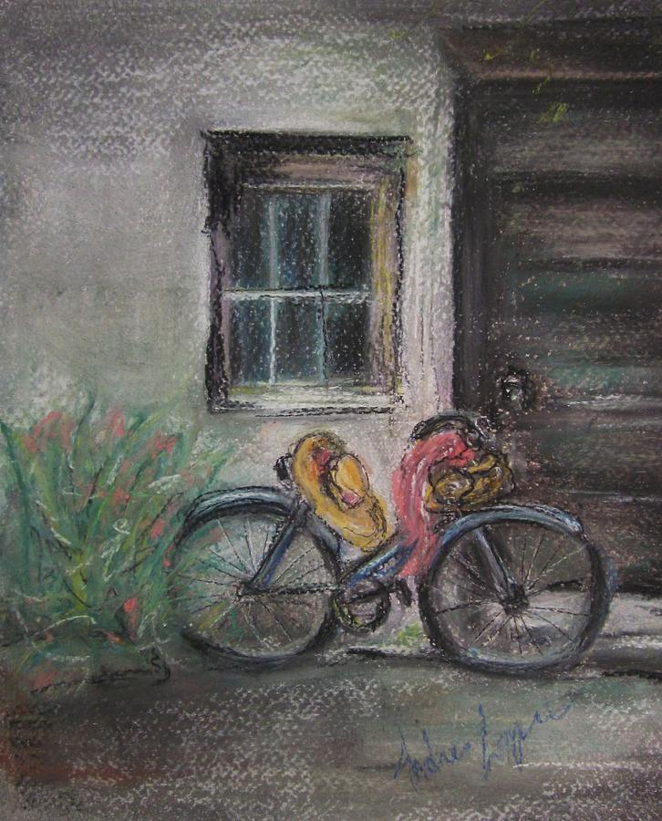 Doors Pastel - Bicycle By The Door by Andrea Flint Lapins