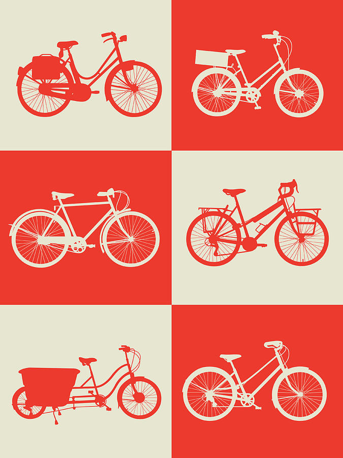 Bicycle Digital Art - Bicycle Collection Poster 1 by Naxart Studio
