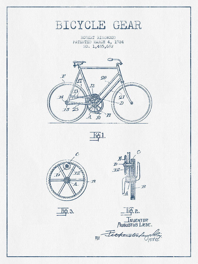 Bicycle Gear Patent Drawing From 1924 - Blue Ink Digital Art
