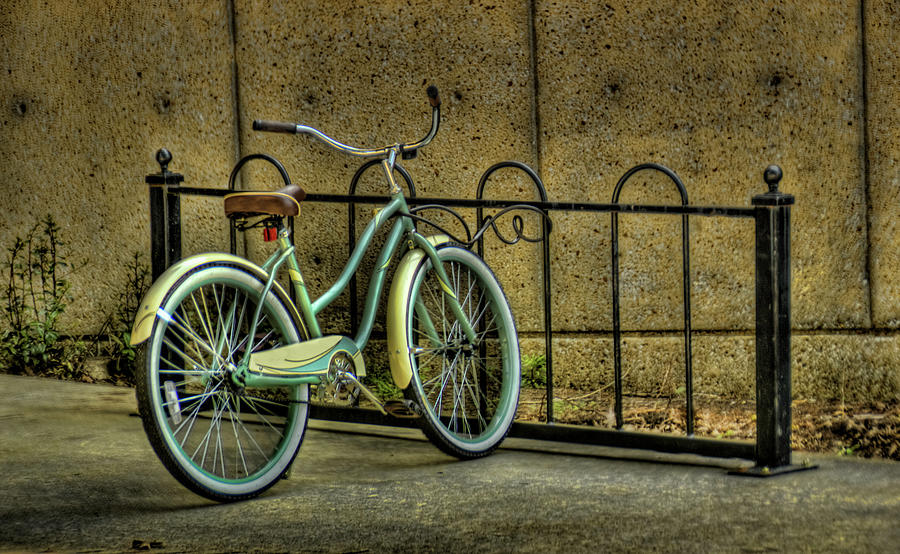 Bicycle In Bike Rack Photograph by D.r. Bennett Photograpy