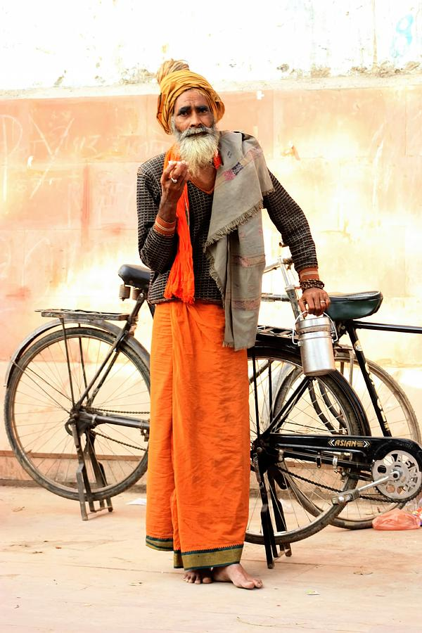 India Photograph - Bicycle Man by Amanda Stadther
