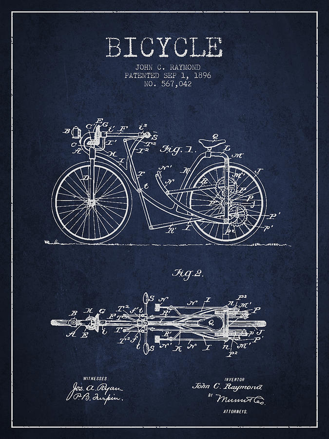Bicycle Patent Drawing From 1896 - Navy Blue Digital Art