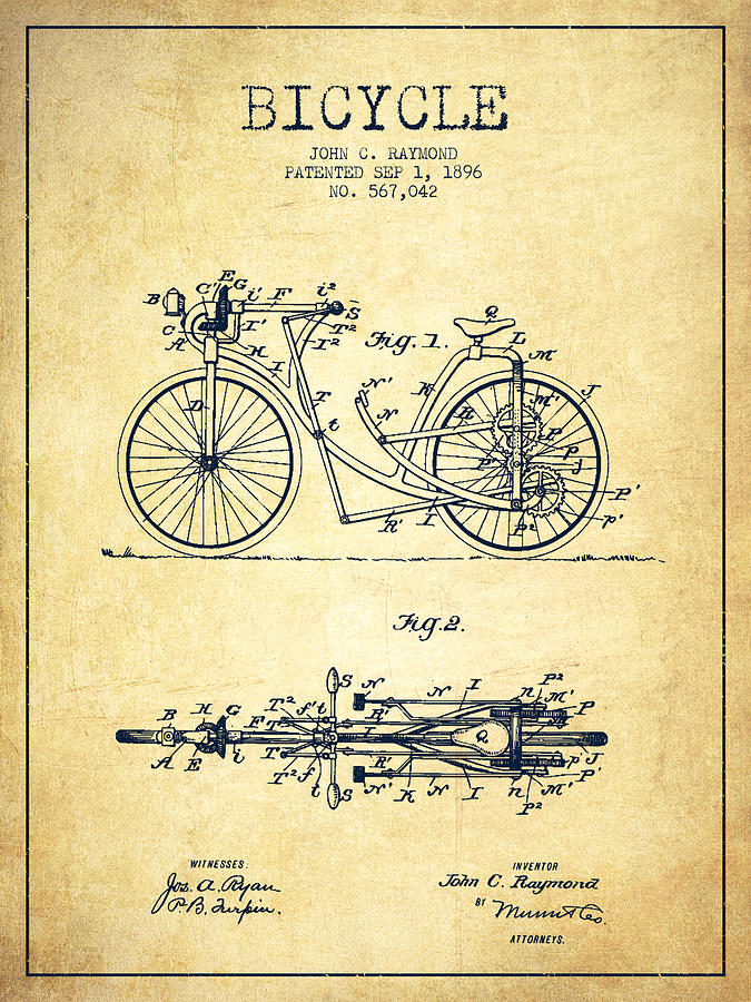 Bicycle Patent Drawing From 1896 Vintage Digital Art By