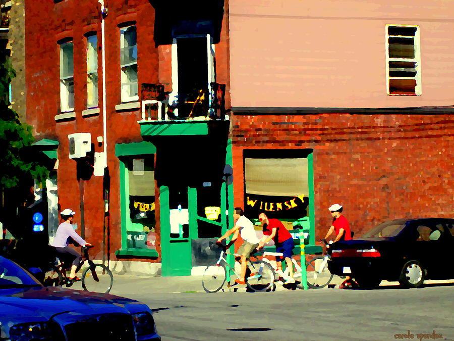 Montreal Painting - Bicycle Path At Wilenskys Diner Rue Fairmount And Clark Montreal Cafe Street Scene Carole Spandau by Carole Spandau