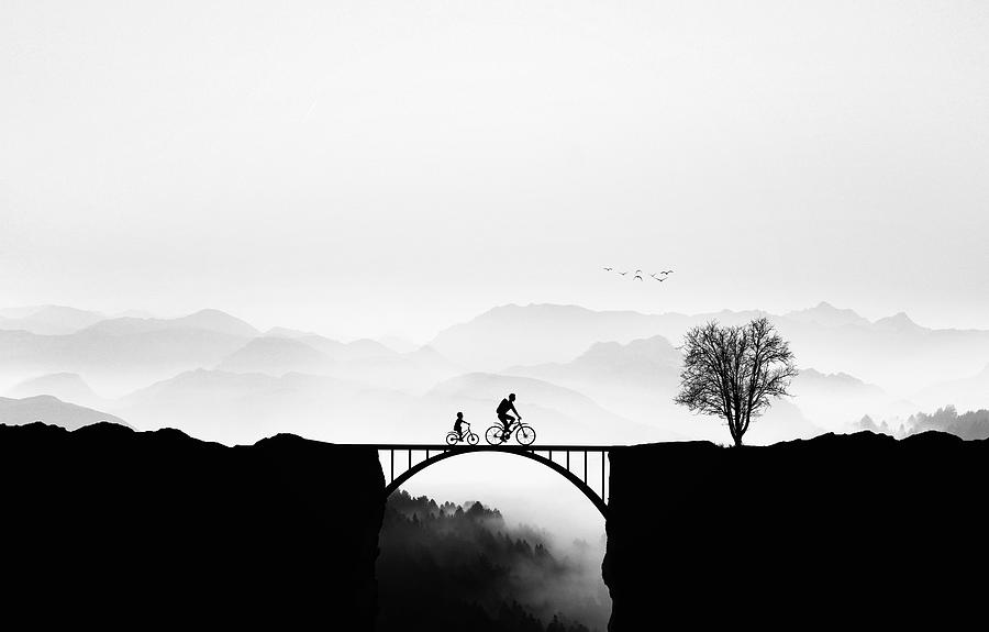 Silhouette Photograph - Bicycle Ride by Bess Hamiti