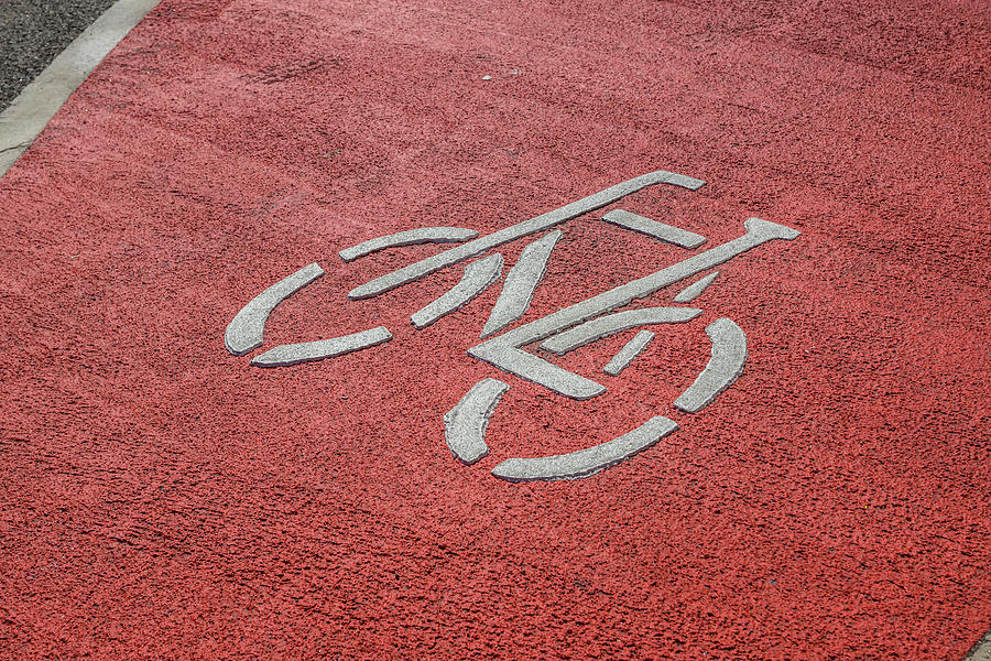 Bicycle Sign On Road Photograph by Ingo Jezierski