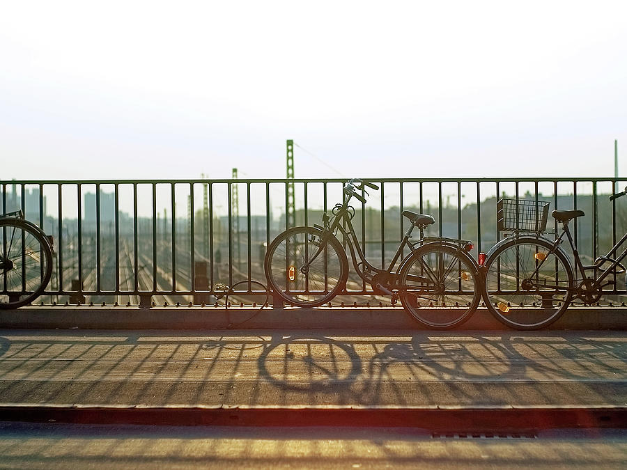 Bicycles Leaning On Fence Photograph by Janusz Ziob