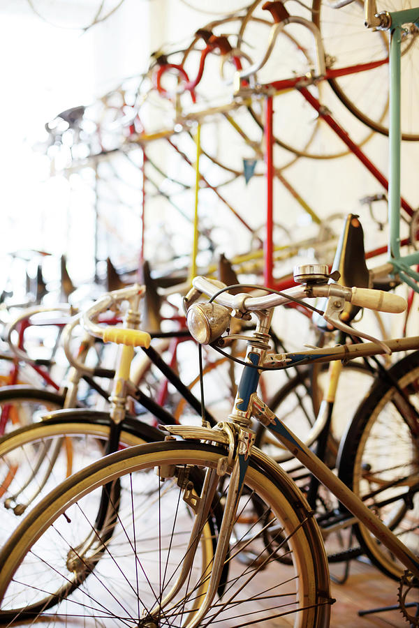 Bicycles Parked In A Bike Shop Photograph by Alvarez