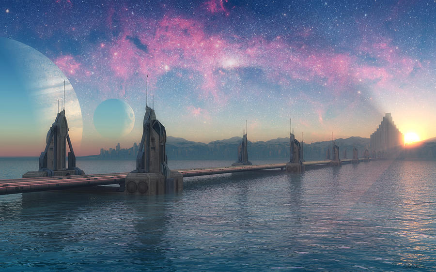 Asgard Digital Art - Bifrost Bridge by Cynthia Decker