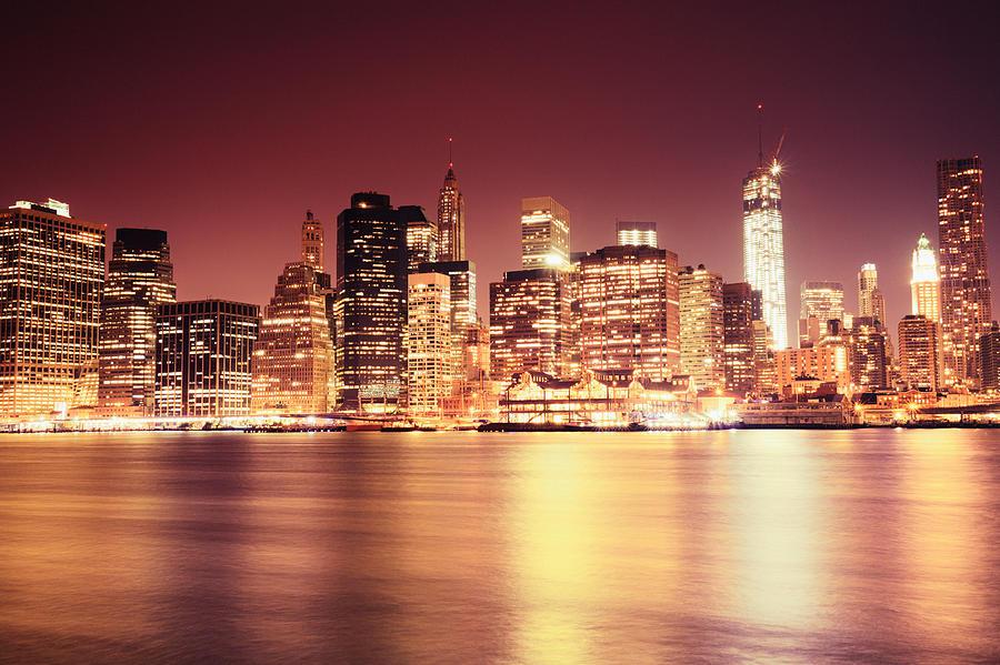 17b1fe5054d7 Big Apple - Night Skyline - New York City Photograph by Vivienne ...