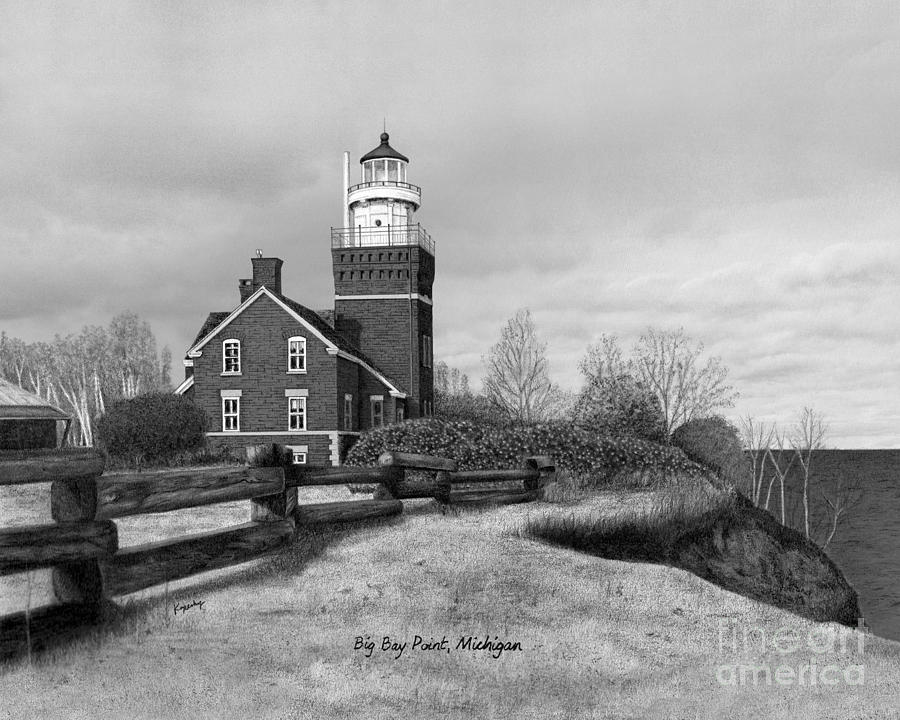 Lighthouse Drawing - Big Bay Point Lighthouse Titled by Darren Kopecky