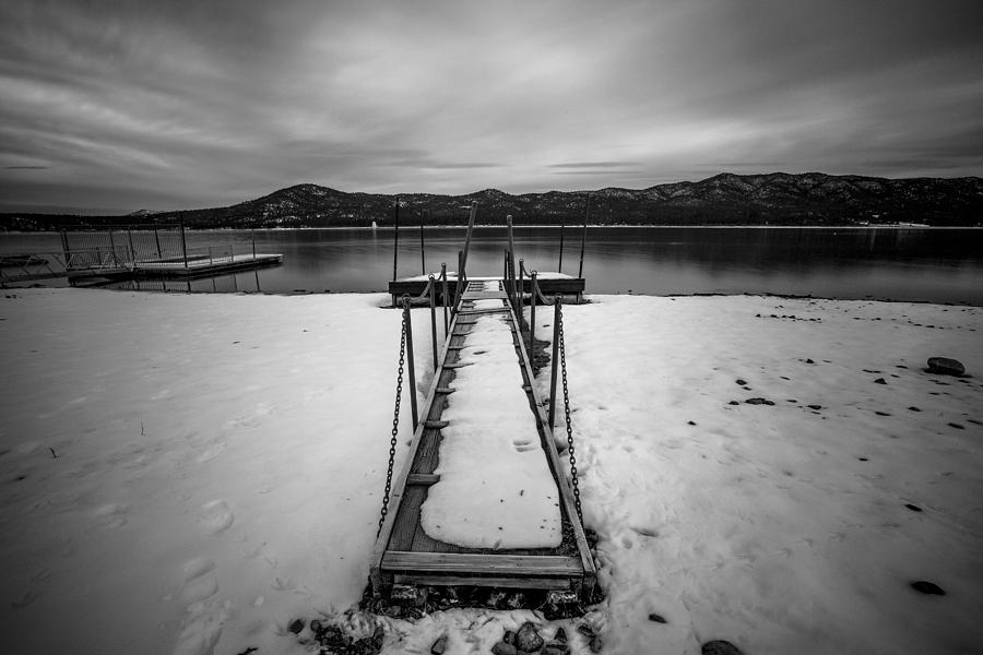 Pier Photograph - Big Bear Pier Black and White by Robert  Aycock