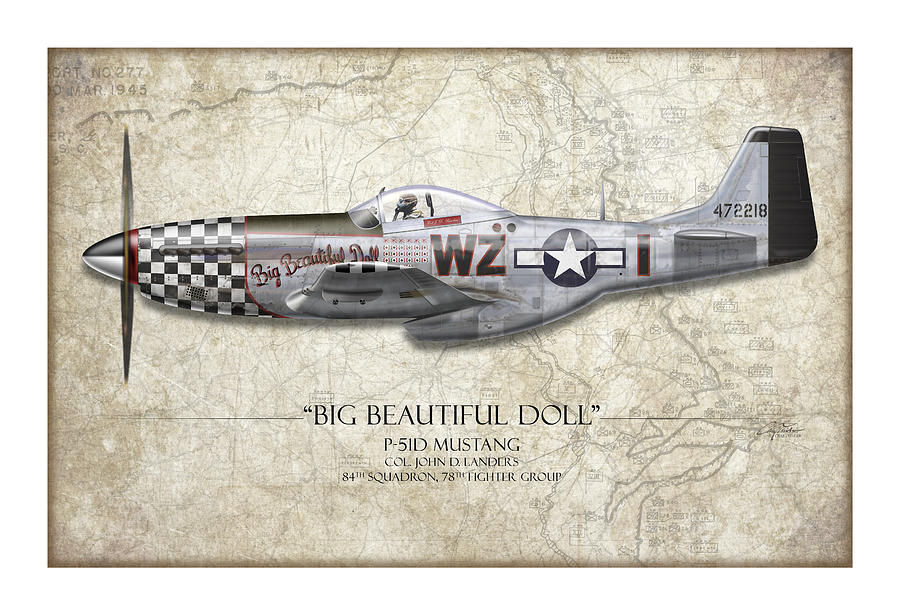 Aviation Painting - Big Beautiful Doll P-51d Mustang - Map Background by Craig Tinder