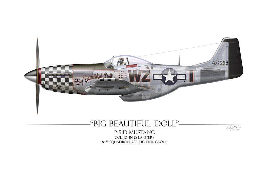 Aviation Painting - Big Beautiful Doll P-51d Mustang - White Background by Craig Tinder