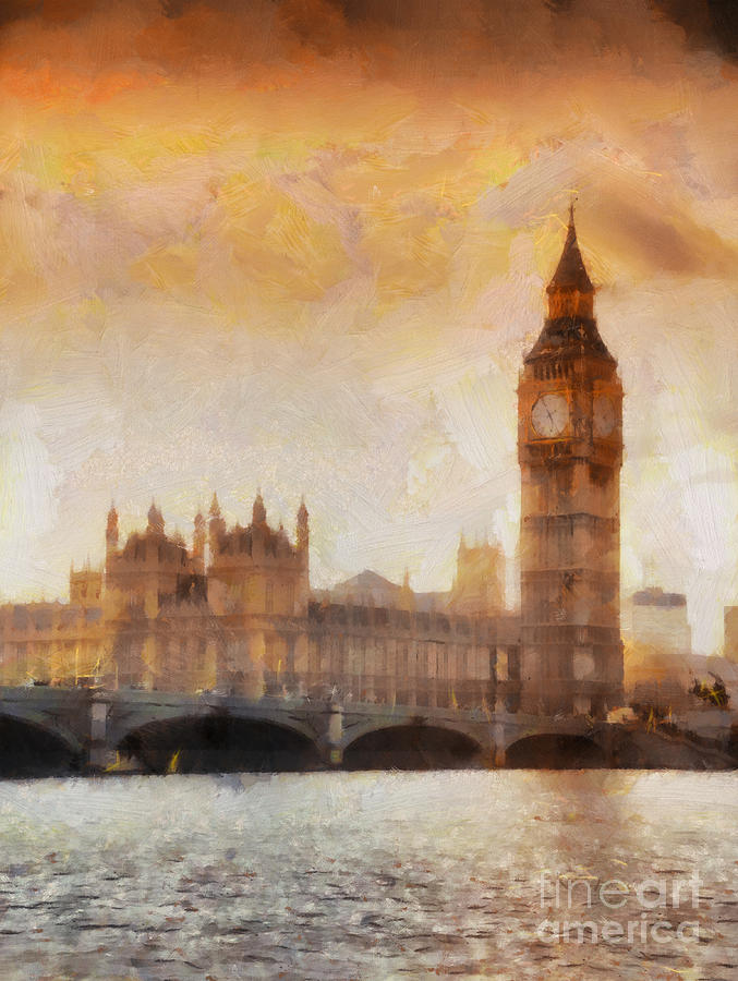 London Painting - Big Ben At Dusk by Pixel Chimp